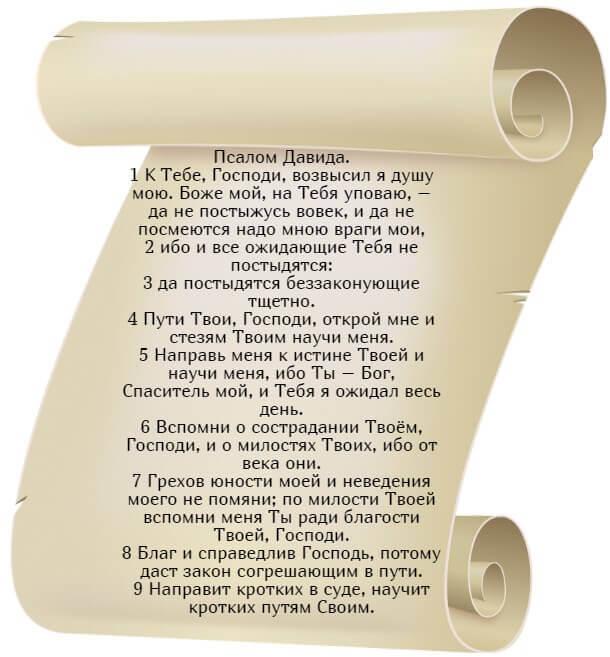 На фото изображен текст псалма 24 (часть 1) на русском языке.