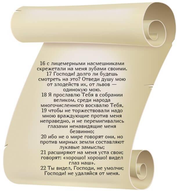 На фото изображен текст псалма 34 на русском языке (часть 3).