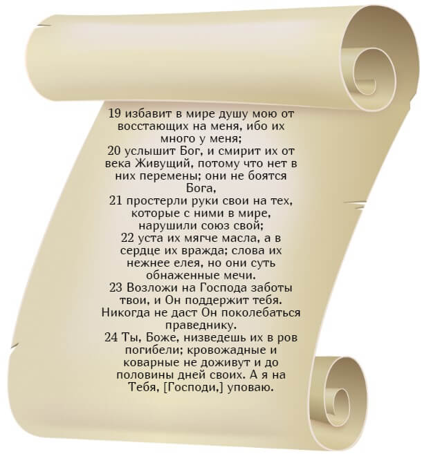 На фото изображен текст псалома 54 на русском языке (часть 3).