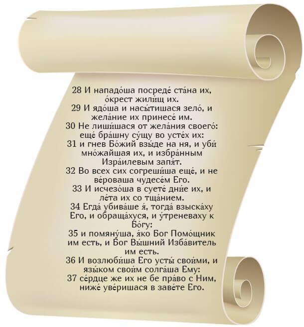 На фото изображен текст псалма 77 на церкновнославянском языке (часть 4).