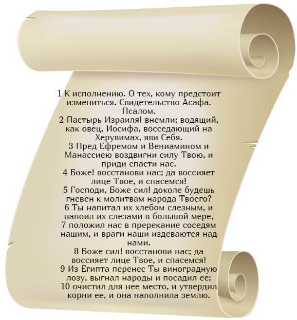 На фото изображен текст псалма 79 на русском языке (часть 1).