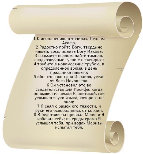На фото изображен текст псалма 80 на русском языке (часть 1).