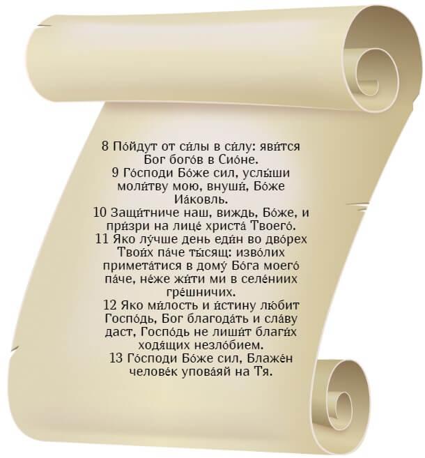 На фото изображен текст псалма 83 на церкновнославянском языке (часть 2).