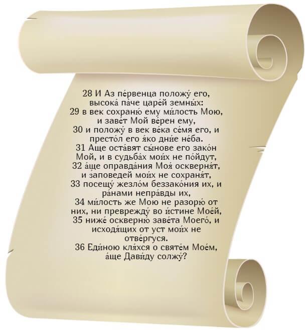 На фото изображен текст псалма 88 на церкновнославянском языке (часть 4).