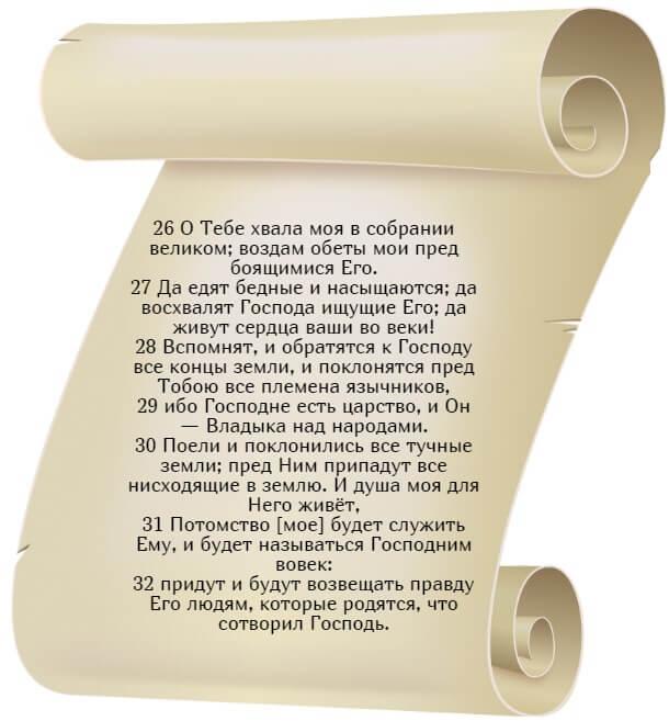 На фото изображен текст псалма 21 (часть 4) на русском языке.