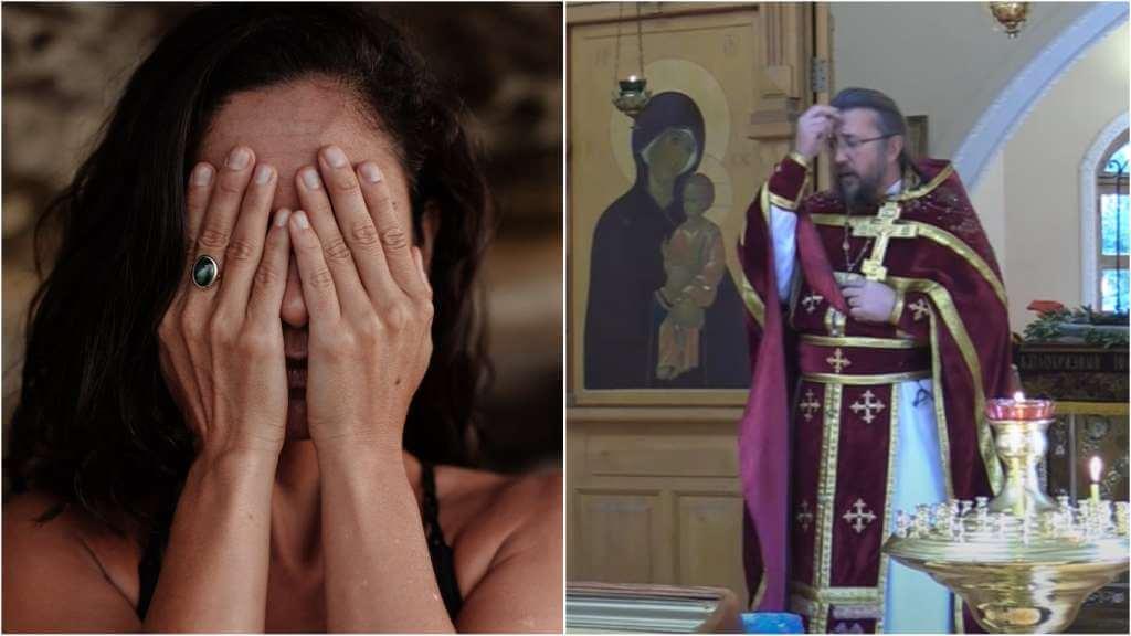 На фото девушка прикрывает глаза руками (слева) и священник Игорь Сильченков (справа).