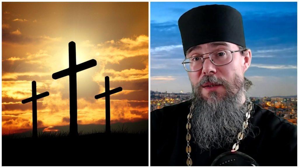 На фото кресты (слева) и протоиерей Кирилл Иванов (справа).