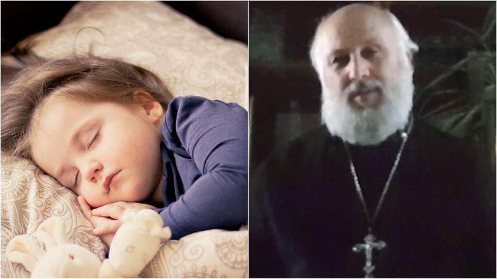 На фото спящий ребенок (слева) и священник Сергий Киселев (справа).