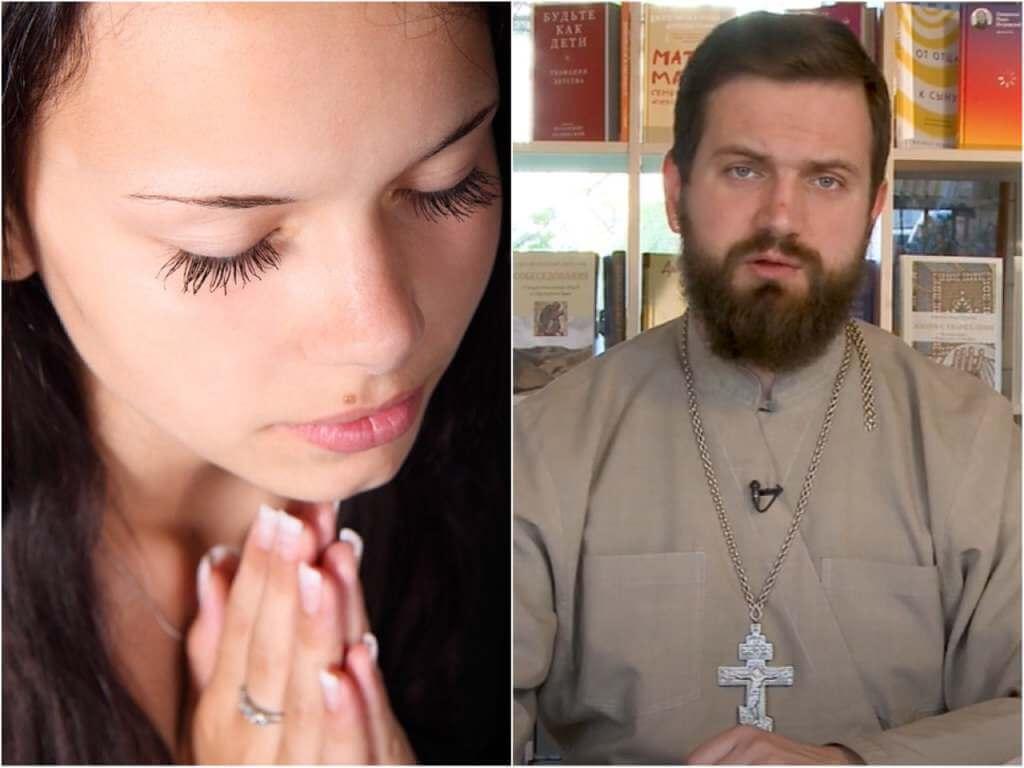 На фото девушка молится (слева) и священник Стахий Колотвин (справа).