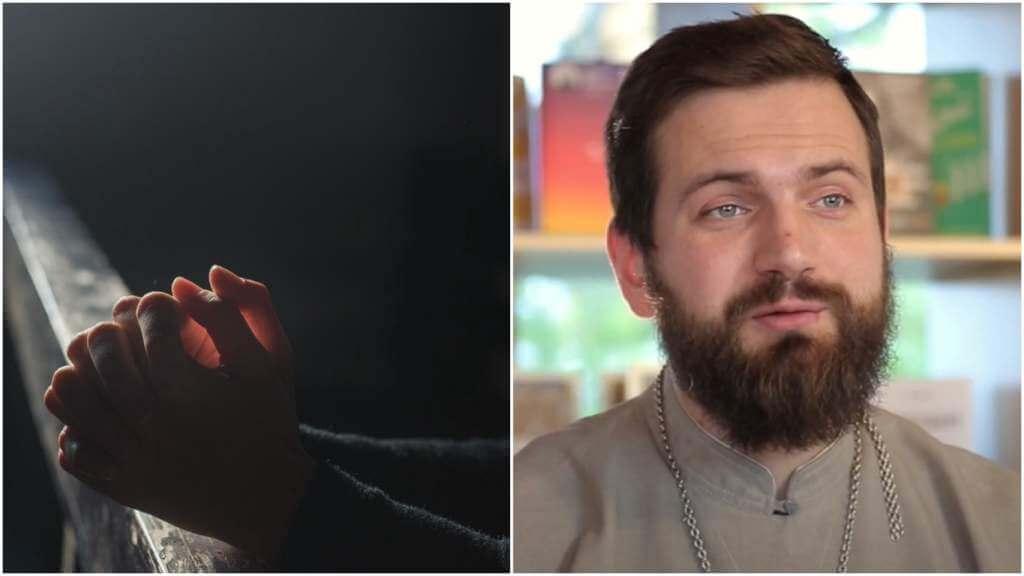 На фото изображен молящийся человек (слева) и священник Стахий Колотвин (справа).