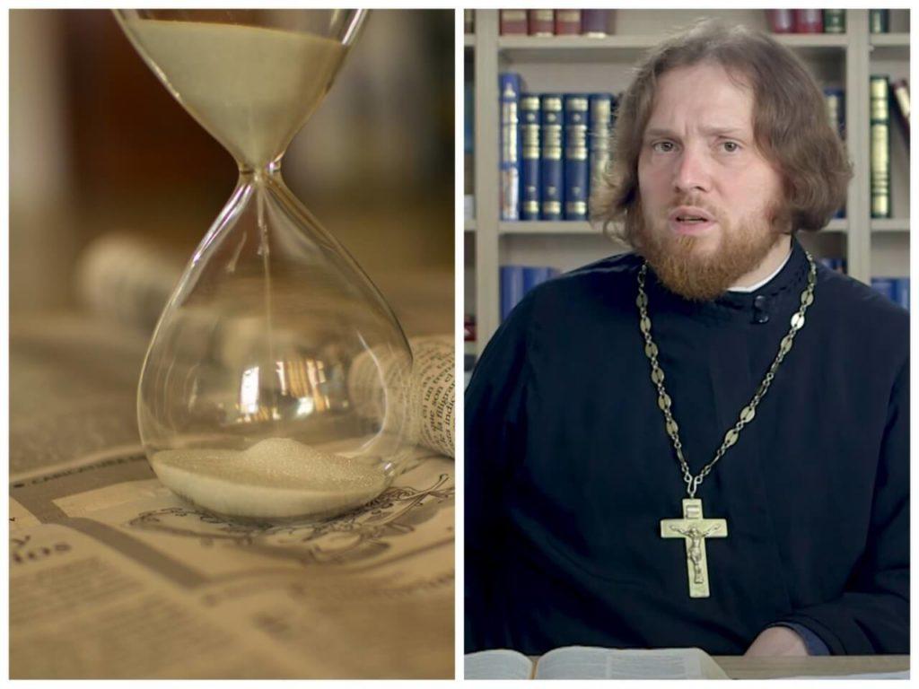 На фото песочные часы (слева) и священник Григорий Геронимус (справа).