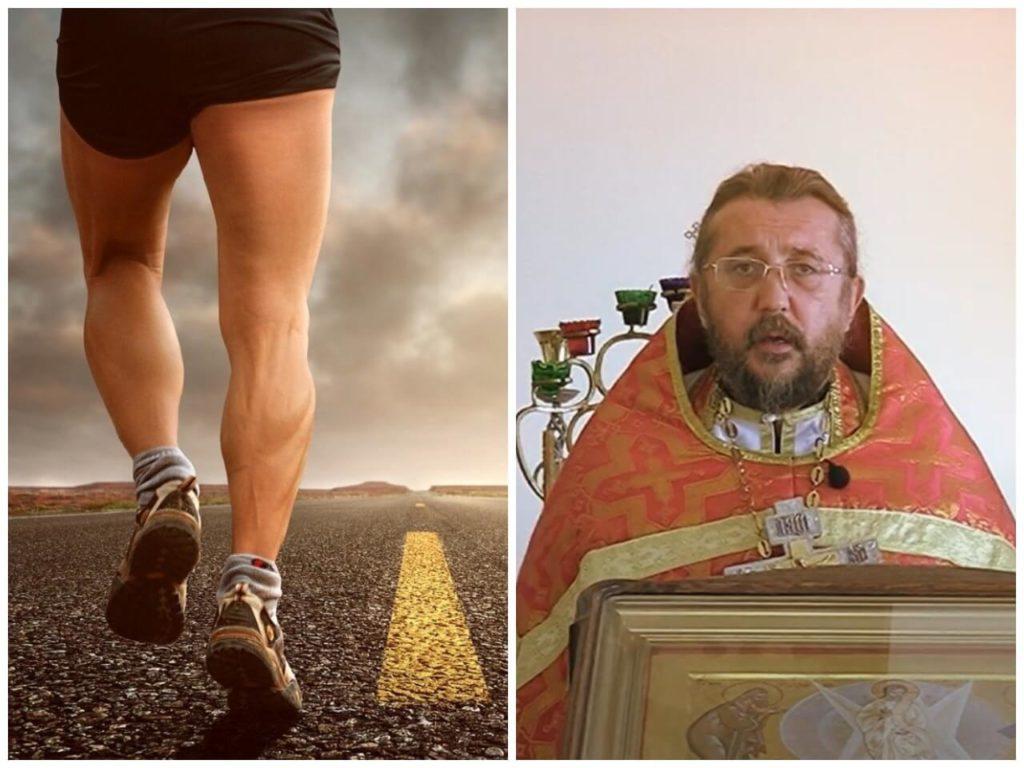 На фото человек бежит по дороге (слева), священник Игорь Сильченков (справа).