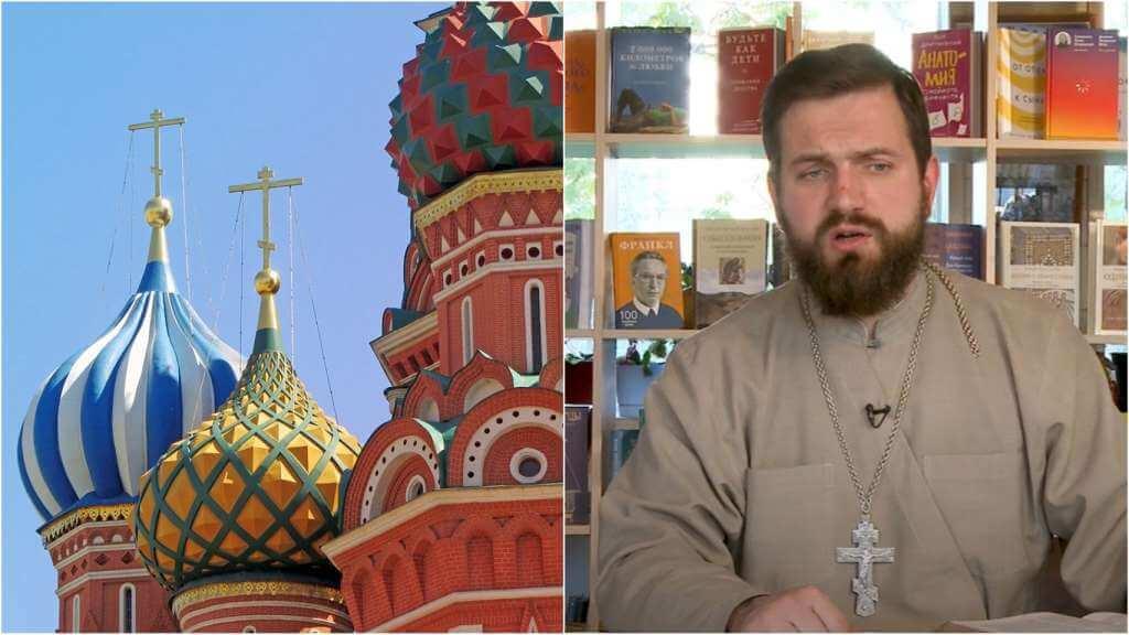 На фото купола храма (слева) и священник Стахий Колотвин (справа).