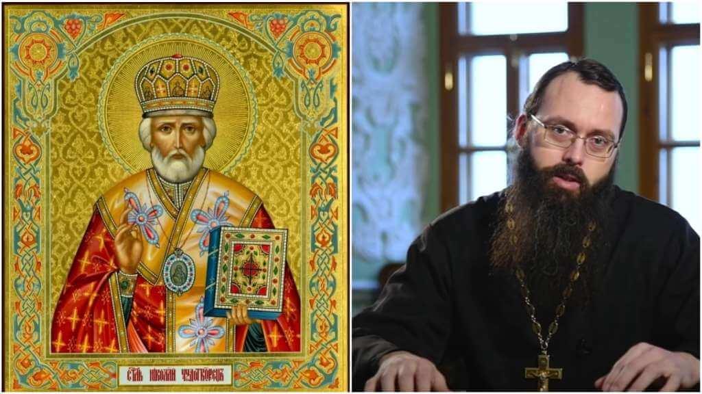 На фото икона Николая Чудотворца (слева), и священник Валерий Духанин (справа).