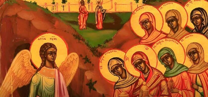 На фото изображен ангел, который рассказал о воскрешении Иисуса Христа.