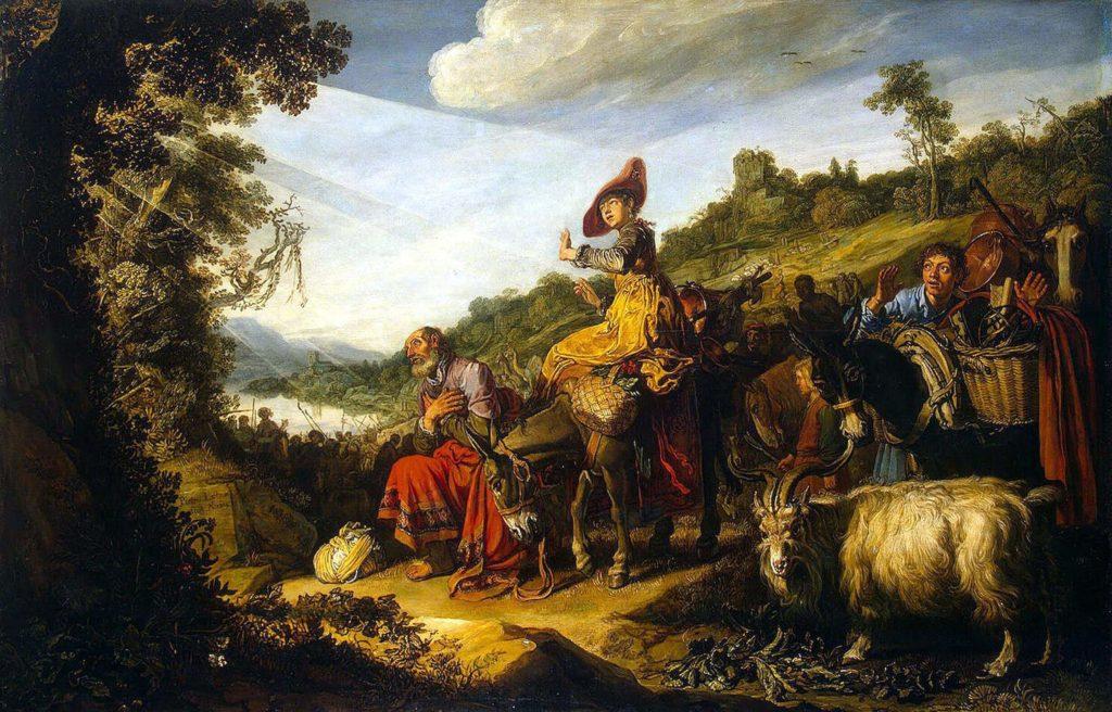 На фото изображена семья Авраама, и пророк, который слушает Господа.