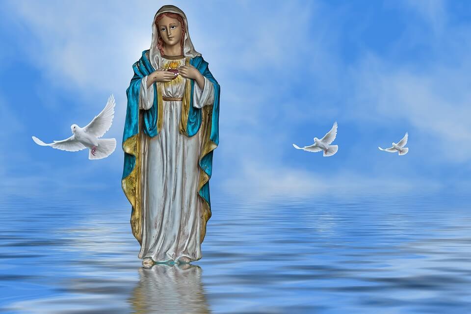 На фото изображена статуя девы Марии и белые голуби.