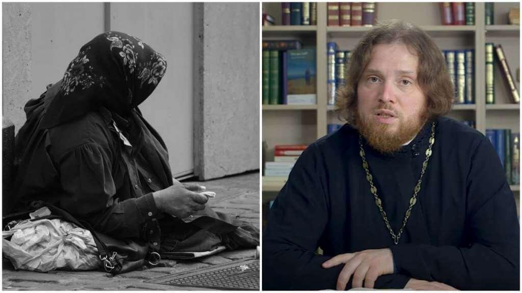 На фото женщина просит милостыню (слева) и священник Григорий Геронимус (справа).