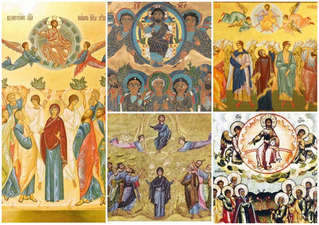 На фото изображены иконы Вознесения Господня.