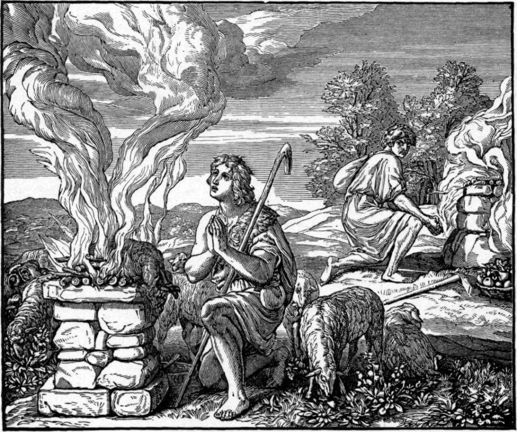 На фото изображены Каин и Авель.