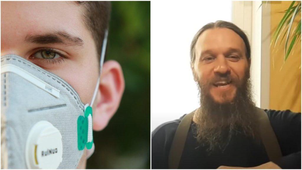 На фото перань в маске (слева) и священник Александр Липин (справа).