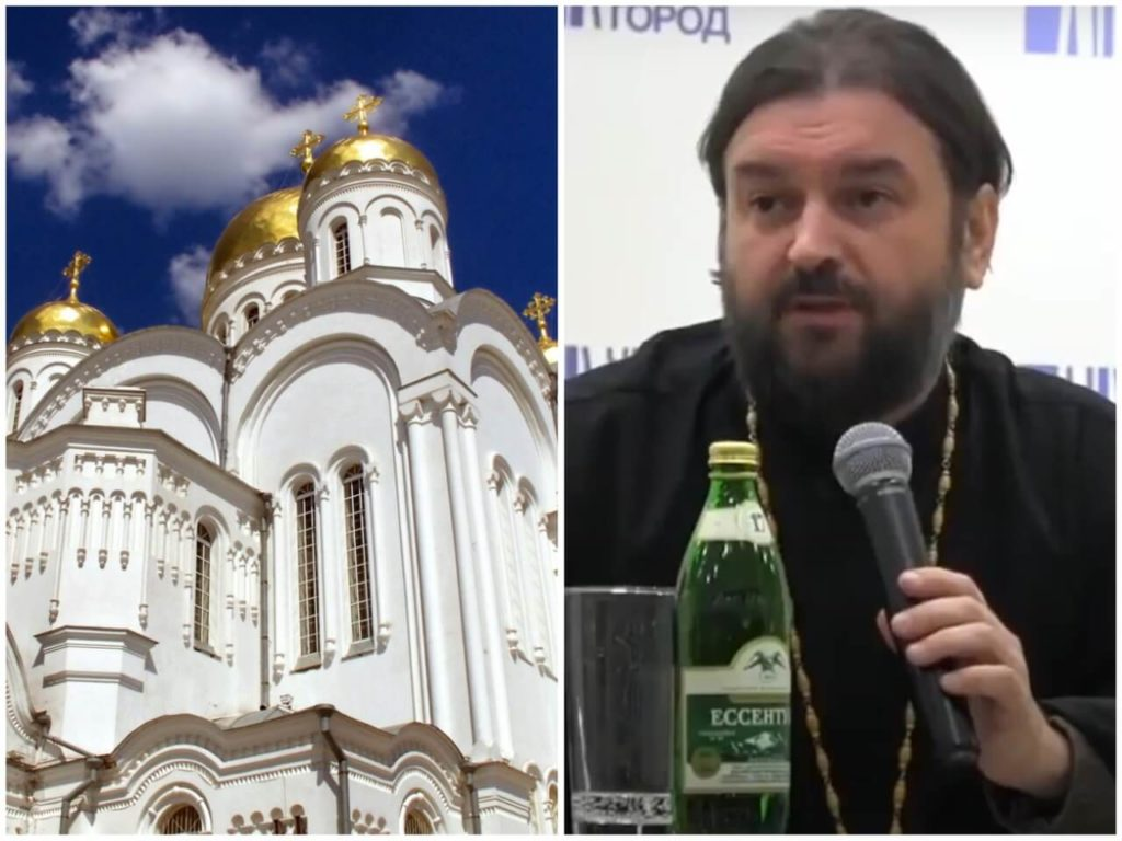 На фото церковь (слева) и священник Андрей Ткачев (справа).