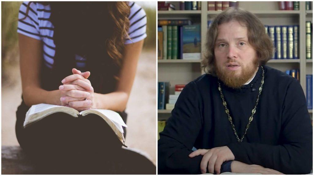 На фото девушка молится (слева) и священник Григорий Геронимус (справа).