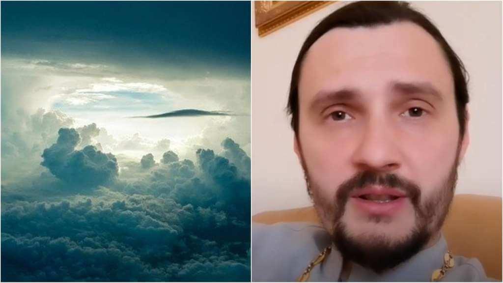 На фото небо (слева) и священник Константин Мальцев (справа).