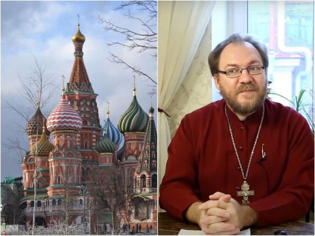 На фото собор Василия Блаженного (слева) и священник Константин Пархоменко (справа).