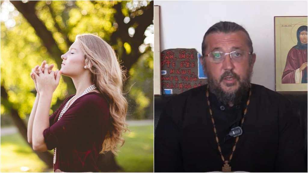 На фото девушка молится (слева) и священник Игорь Сильченков (справа).