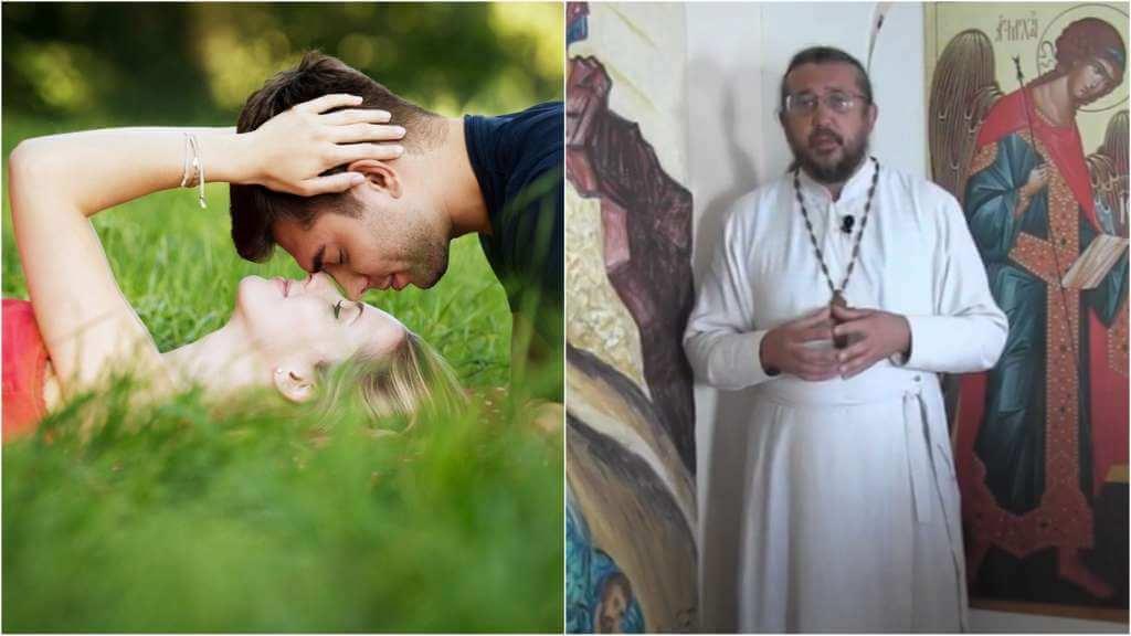 На фото влюбленная пара (слева) и священник Игорь Сильченков (справа).