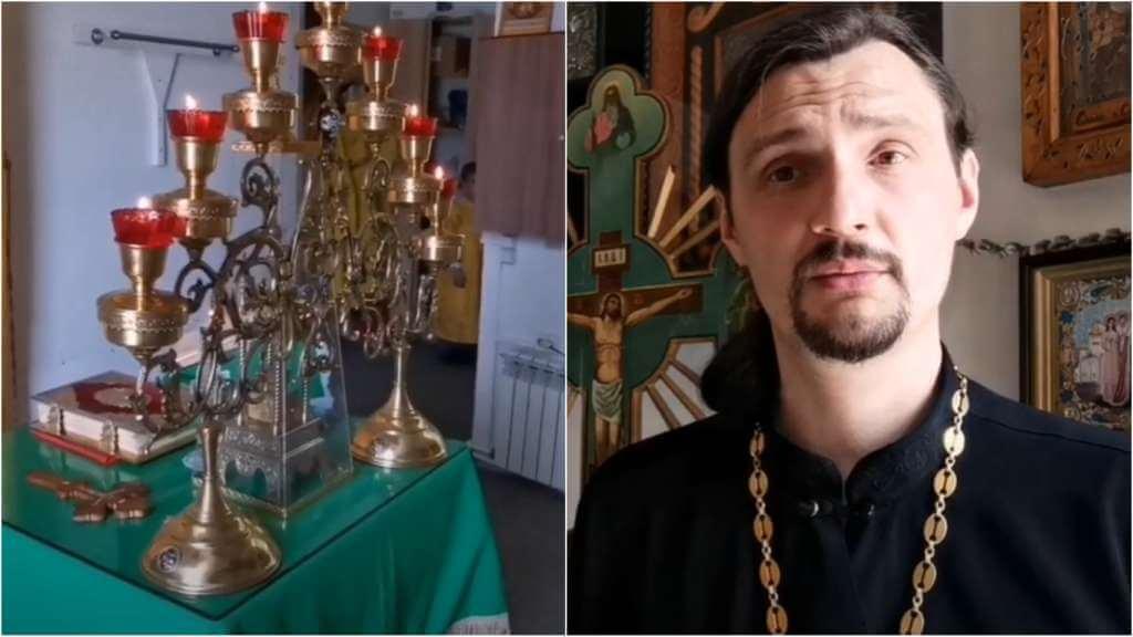 На фото изображен семисвечник (слева) и священник Константин Мальцев (справа).