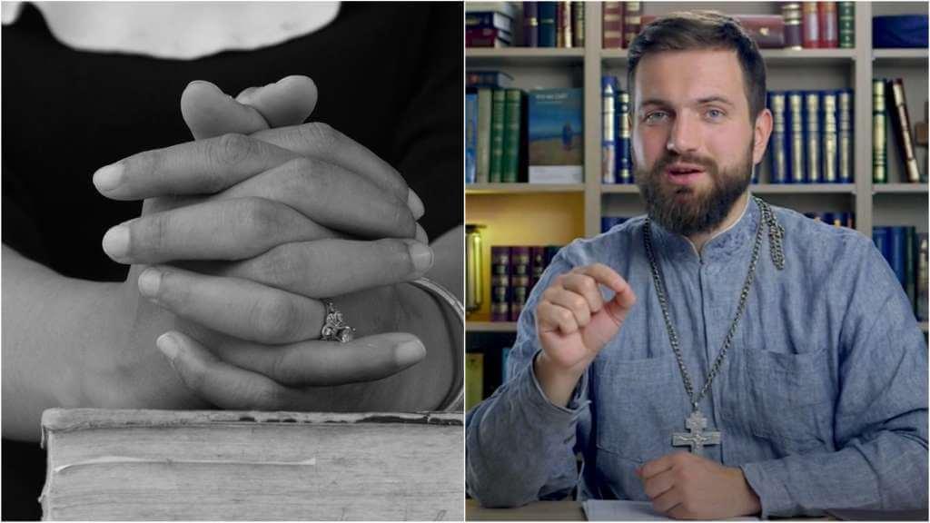 На фото женщина молится (слева) и священник Стахий Колотвин (справа).
