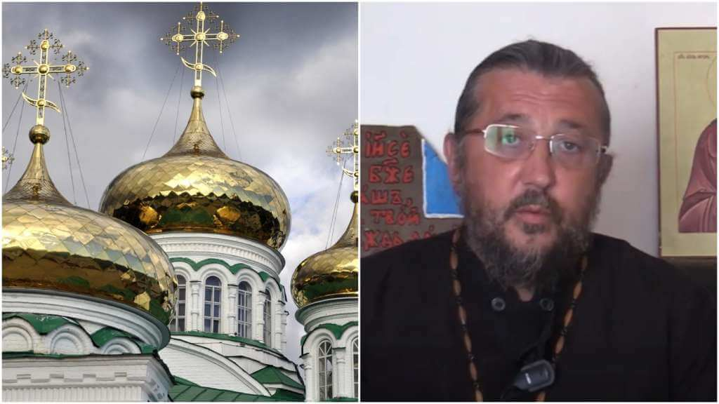 На фото купола православной церкви (слева) и священник Игорь Сильченков (справа).