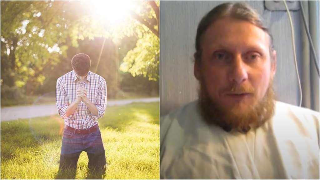 На фото парень молится на траве (слева) и священник Николай Каров (справа).