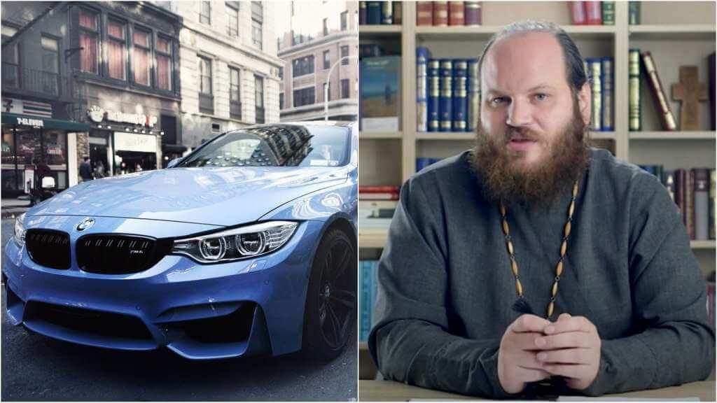 На фото автомобиль (слева) и священник Павел Островский (справа).