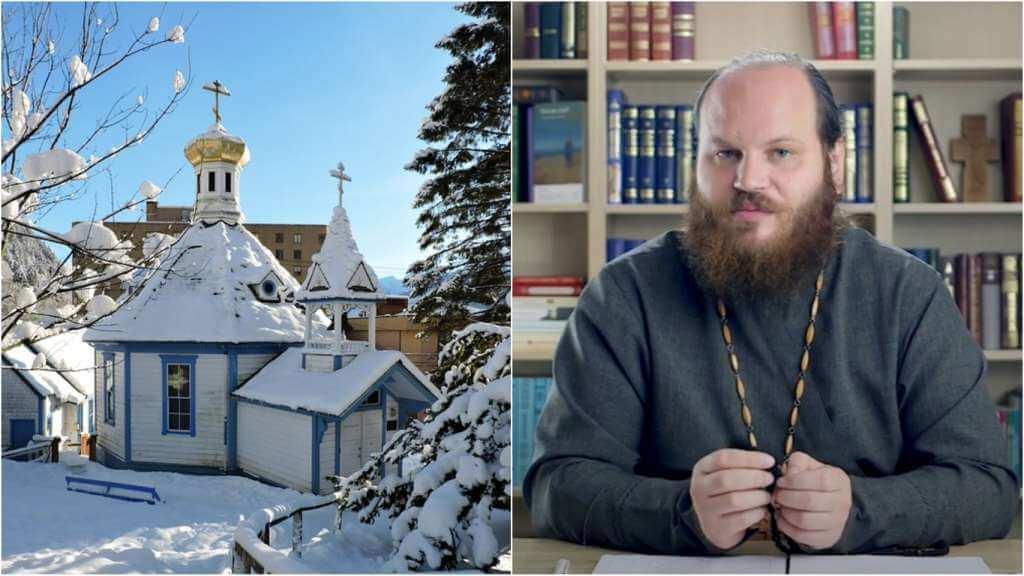 На фото православная церковь (слева) и священник Павел Островский (справа).