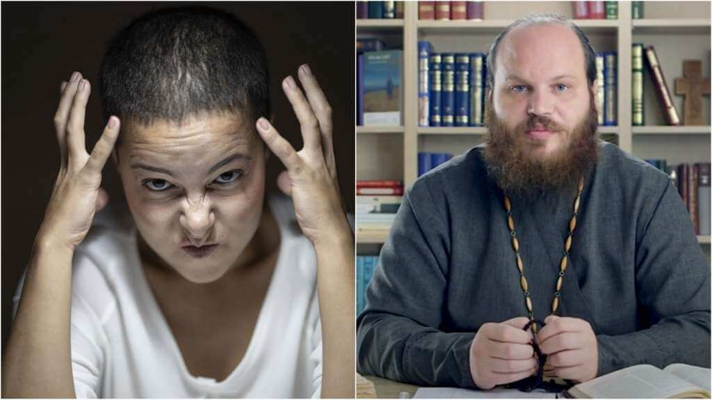На фото девушка в гневе (слева) и священник Павел Островский (справа).