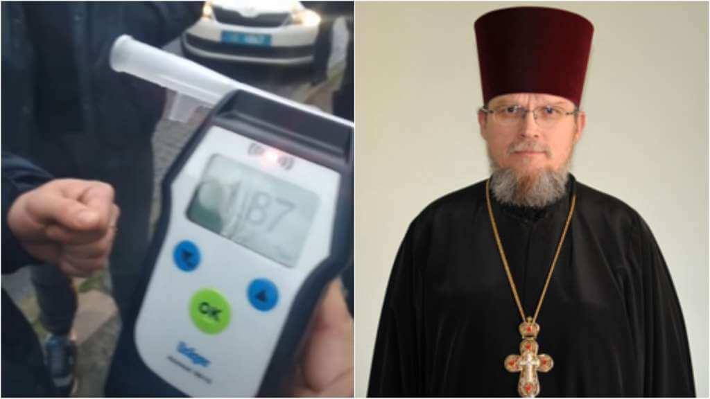 На фото тест на содержание алкоголя в крови (слева) и священник Владимир Шарабура (справа).