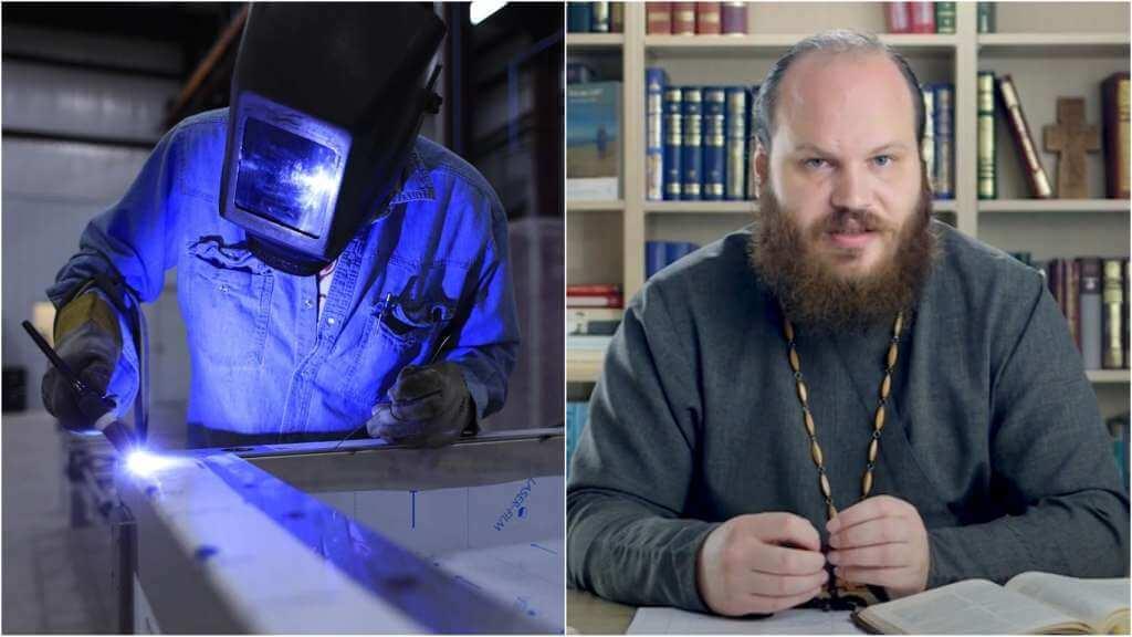 На фото сварщик за работой (слева) и священник Павел Островский (справа).