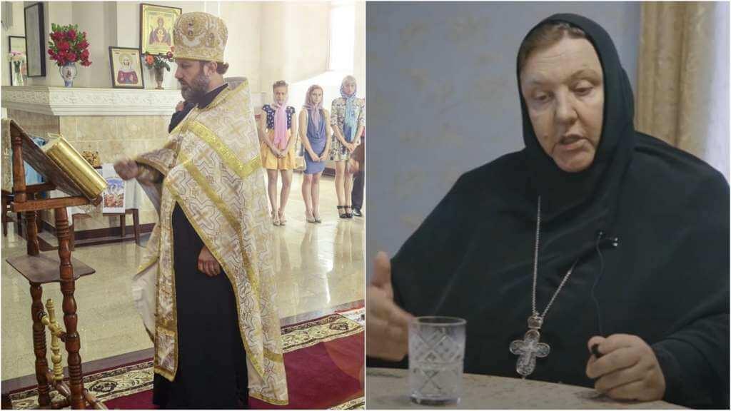 На фото батюшка в церкви (слева) и Игумения Елисавета (справа).