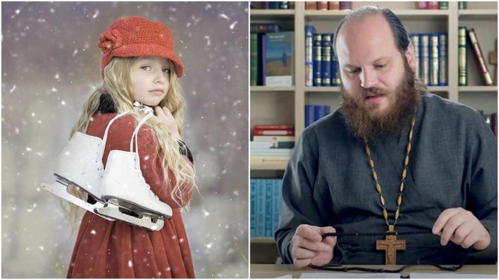 На фото девочка с коньками (слева) и священник Павел Островский (справа).