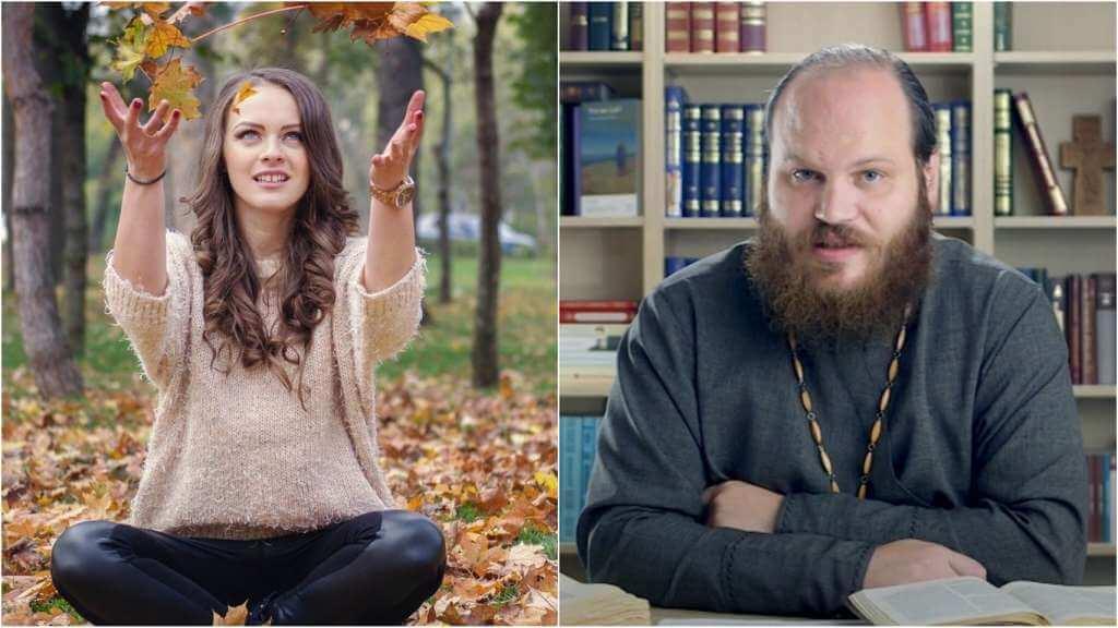 На фото девушка в парке (слева) и священник Павел Островский (справа).
