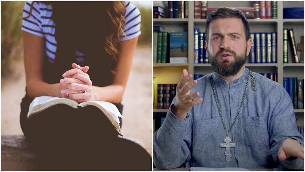 На фото девушка с книгой молится (слева) и священник Стахий Колотвин (справа).