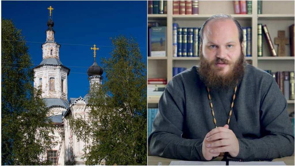 На фото изображен Собор (слева) и священник Павел Островский (справа).
