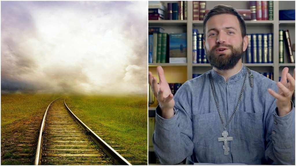 На фото железнодорожные пути (слева) и священник Стахий Колотвин (справа).