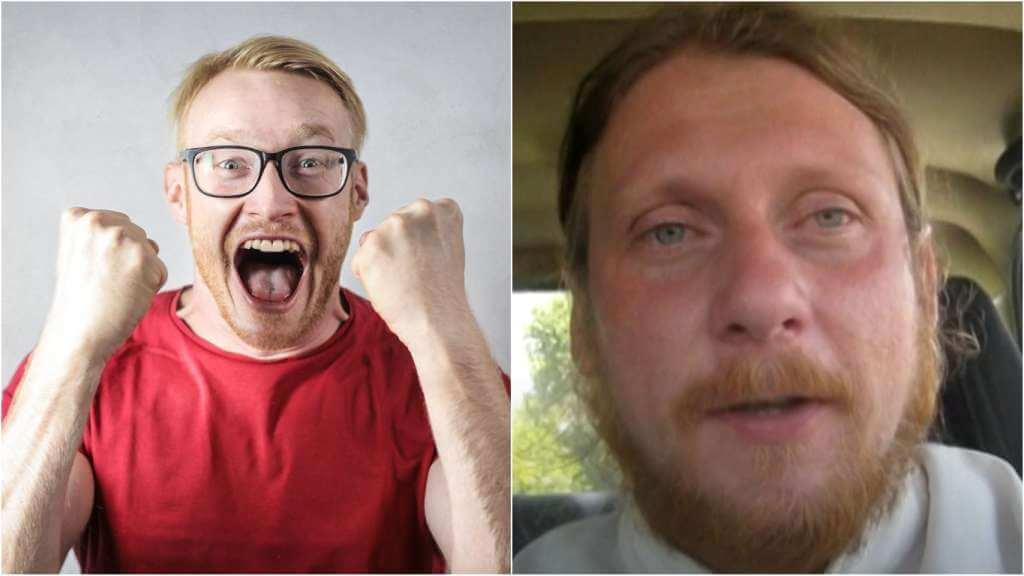 На фото эмоциональный мужчина (слева) и священник Николай Каров (справа).