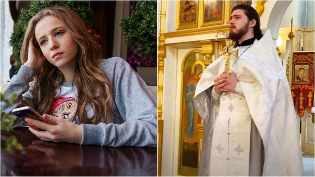 На фото девушка тоскует (слева) и священник Николай Бабкин (справа).
