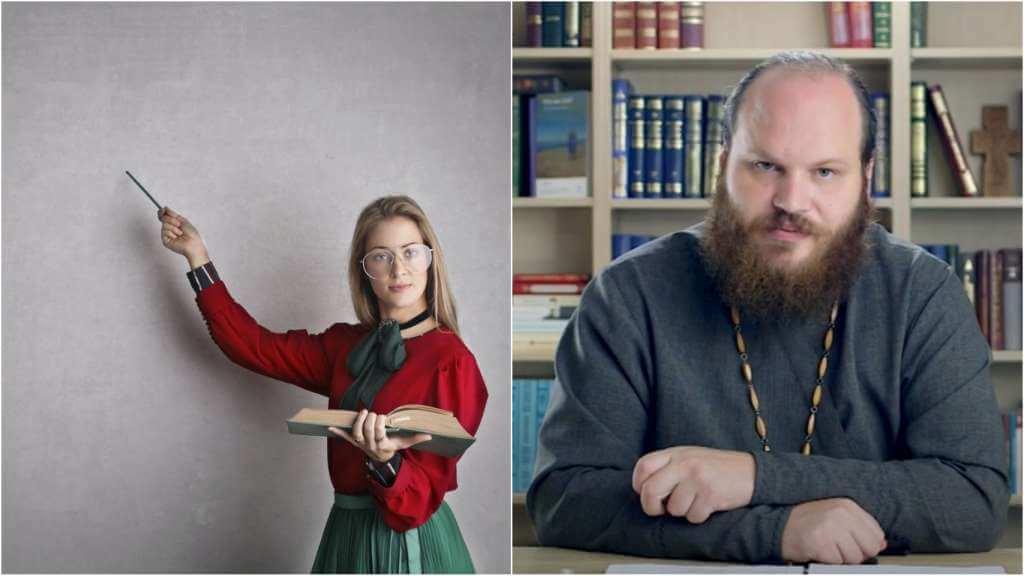 На фото учительница у доски (слева) и священник Павел Островский (справа).