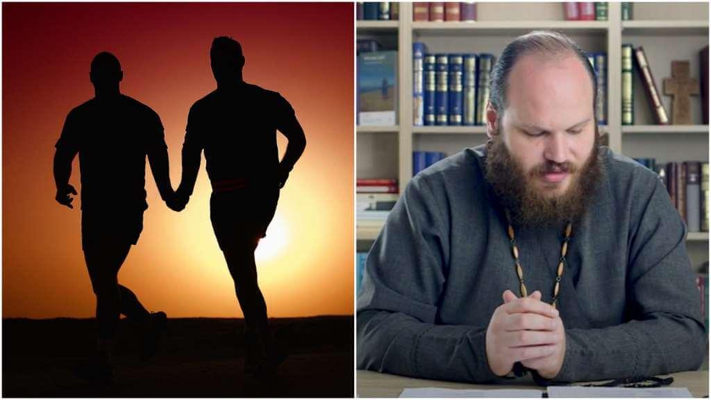 На фото мужчины держатся за руки (слева) и священник Павел Островский (справа).